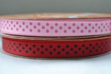 10mm PINK & PINK SHADE POLKA DOTS GROSGRAIN RIBBONS